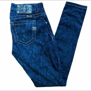 Miss Me jeans .Mid rise skinny. floral pattern,